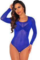 Royal Blue Long Sleeve Sheer Mesh Bodysuit
