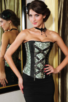 Classic Jacquard Corset with Rivets and Chain
