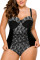 Black Sheer Lace Insert Ruched Plus One Piece Swimsuit
