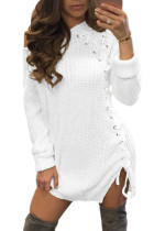 White Knit Lace up Side Long Sleeves Sweater Dress