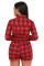 Red Black Plaid Collared Drawstring Romper