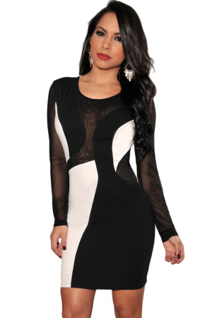 Black White Color-Block Mesh Sleeves Bodycon Dress
