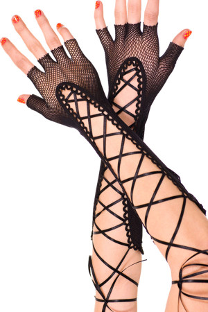 Black Lace up Fishnet Fingerless Gloves