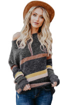 Gray Horizons Colorblock Striped Sweater