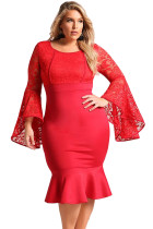 Red Plus Size Lace Bell Sleeve Mermaid Bodycon Dress