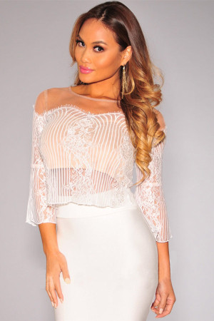 White Lace Nude Illusion Skirt Set