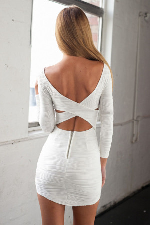 White Bodycon Dress with Cut out Back