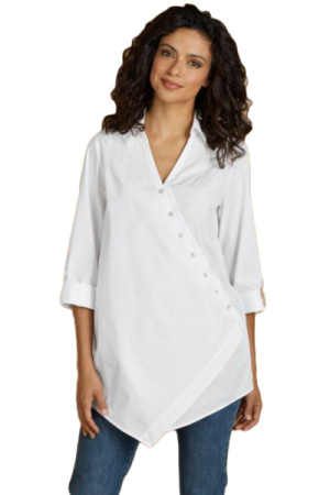White Roll Tab Long Sleeve Asymmetric Button Blouse