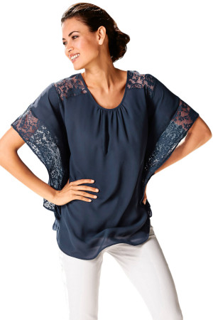Navy Lace Splice Batwing Sleeve Chiffon Blouse