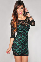 3/4 Sleeves Lace Surface Turquoise Mini Dress