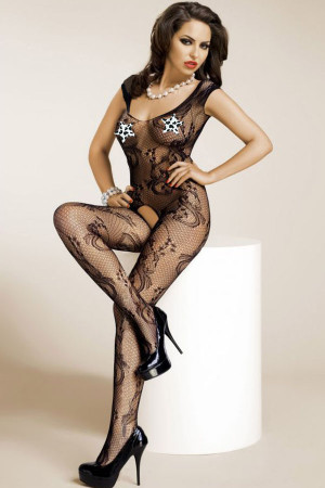 Black Floral Mesh Crotchless Bodystocking