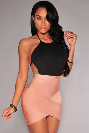 Nude Bandage Arched Mini Skirt