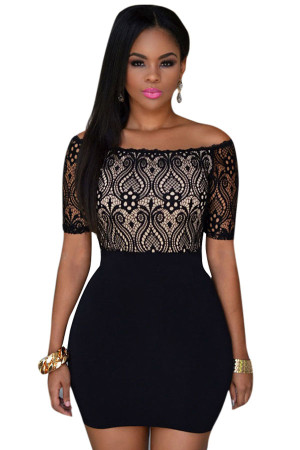 Black Lace Top Off Shoulder Bodycon Dress