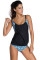 Black Layered-Style Printed Tankini with Triangular Briefs