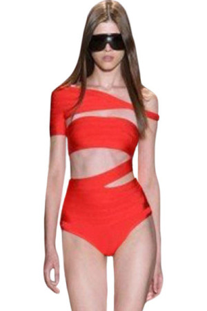 Red One-shoulder Hollow-out Bandage One-piece Swimwear