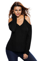 Black Cold Shoulder Knit Long Sleeves Sweater