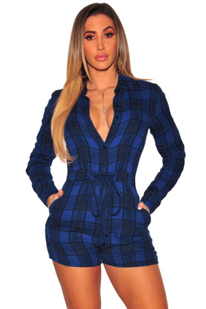 Blue Black Plaid Collared Drawstring Romper