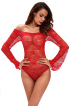 Red Sexy Sheer Off-shoulder Bell Sleeve One Piece Lingerie