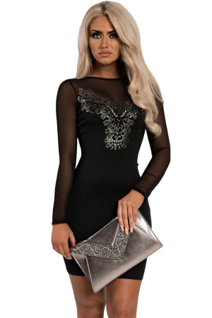 Black Patterned Detail Bodycon Mini Dress