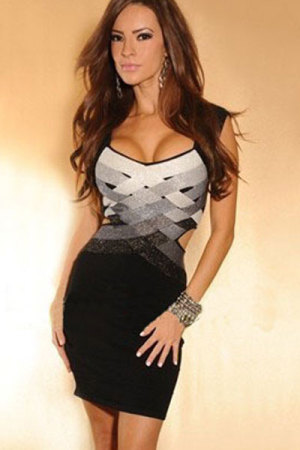 Weaved Black Grey Mini Bandage Dress