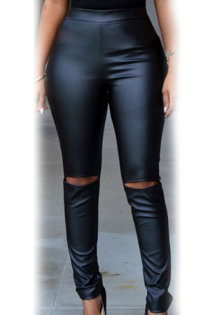 Black Faux-leather Cut-out Knee Legging