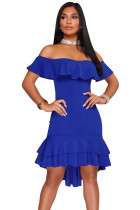 Royal Blue Off Shoulder Hi-Lo Hem Ruffle Party Dress