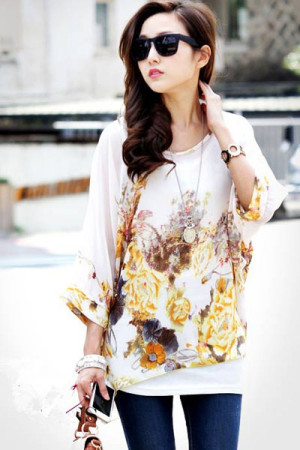 Golden Autumn Print Elegant Chiffon Top