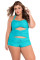 Green Sweetheart Ruched Plus Size Swimsuit