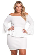 White Off The Shoulder Bell Sleeves Peplum Plus Dress