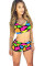 Bright Color Blocks Print Sporty Bathing Suit