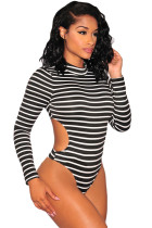 Black Striped Open Back Long Sleeves Bodysuit
