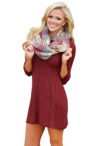 Burgundy Cable Knit Fitted 3/4 Sleeve Sweater Dress