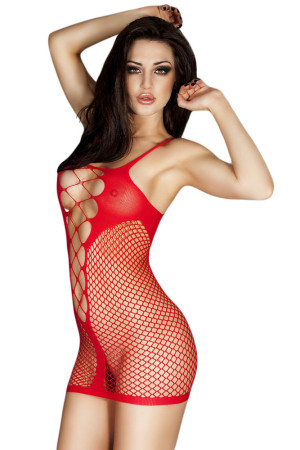 Red Fishnet See-through Chemise Dress