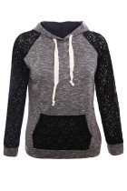 Black Lace Accent Kangaroo Pocket Hoodie