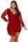 Burgundy Plus Size Lace Faux Wrap Ruffle Dress