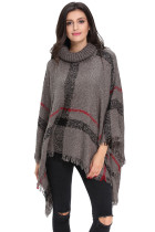 Gray Turtleneck Tassel Cape Sweater