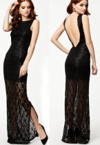 Black Lace Maxi Dress With Sequins