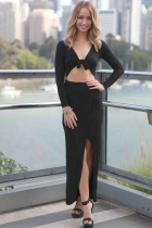 Black Asymmetrical Draped Maxi Dress with Front Wrap Tie