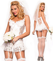 White Bridal Lingerie Honeymoon Chemise with Garter Belt