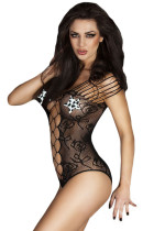 Black Mesh Cutout Strappy Teddy Lingerie