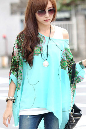 Floral Detail Batwing Sleeve Loose-Fitting Blue Chiffon Blouse