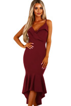 Burgundy V Neckline Frill Fishtail Party Dress