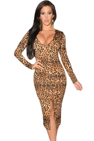 Long-sleeve Leopard Midi Dress With Front Slit