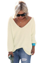 Apricot Knitted Long Sleeve Plunge Jumper