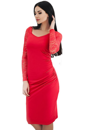 Red Black Lace Sleeve Embroidery Ruched Sheath Dress