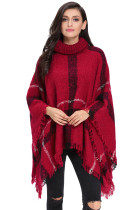 Red Turtleneck Tassel Cape Sweater