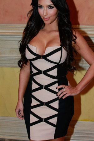 Sexy Bodycon Black and Beige Corset Bandage Dress