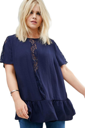 Navy Plus Size Smock Top with Lace Insert