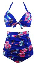 Retro Floral Print High Waist Halter 2PCS Bikini Set Swimsuit