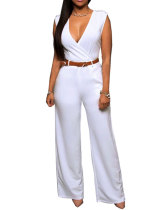 Sexy Deep V Sleeveless High Waist Belted Wide Leg Jumpsuit